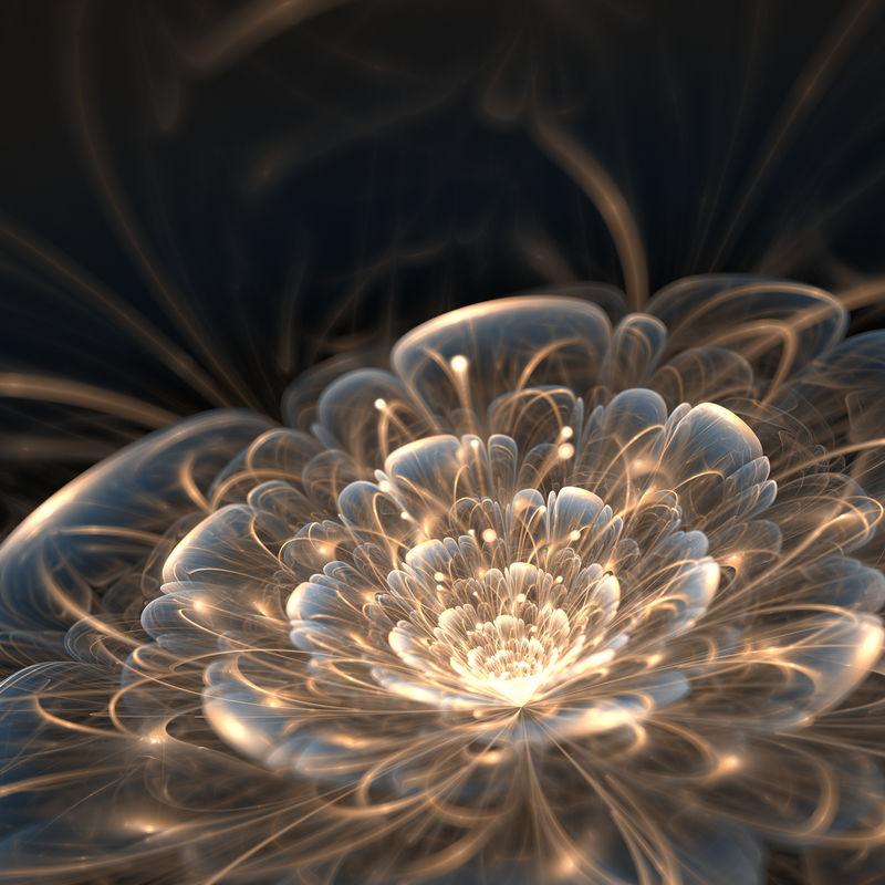 深蓝色金色的分形花