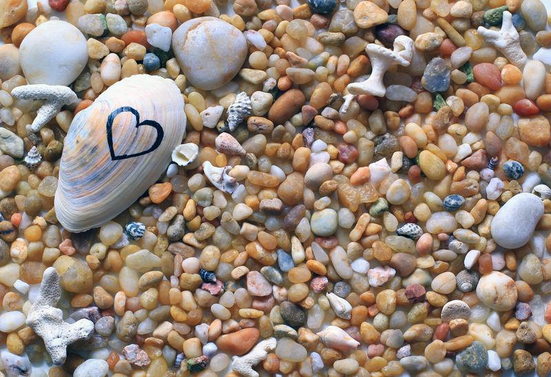 海上度假,爱海,蜜月背景,石头,卵石和贝壳