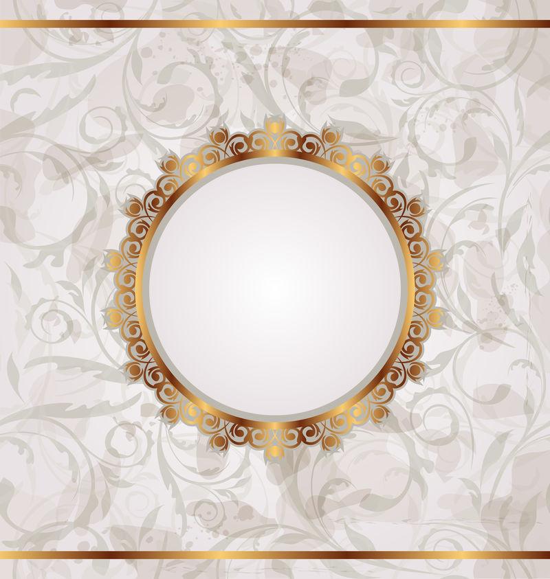 金色复古框架,无缝花卉纹理