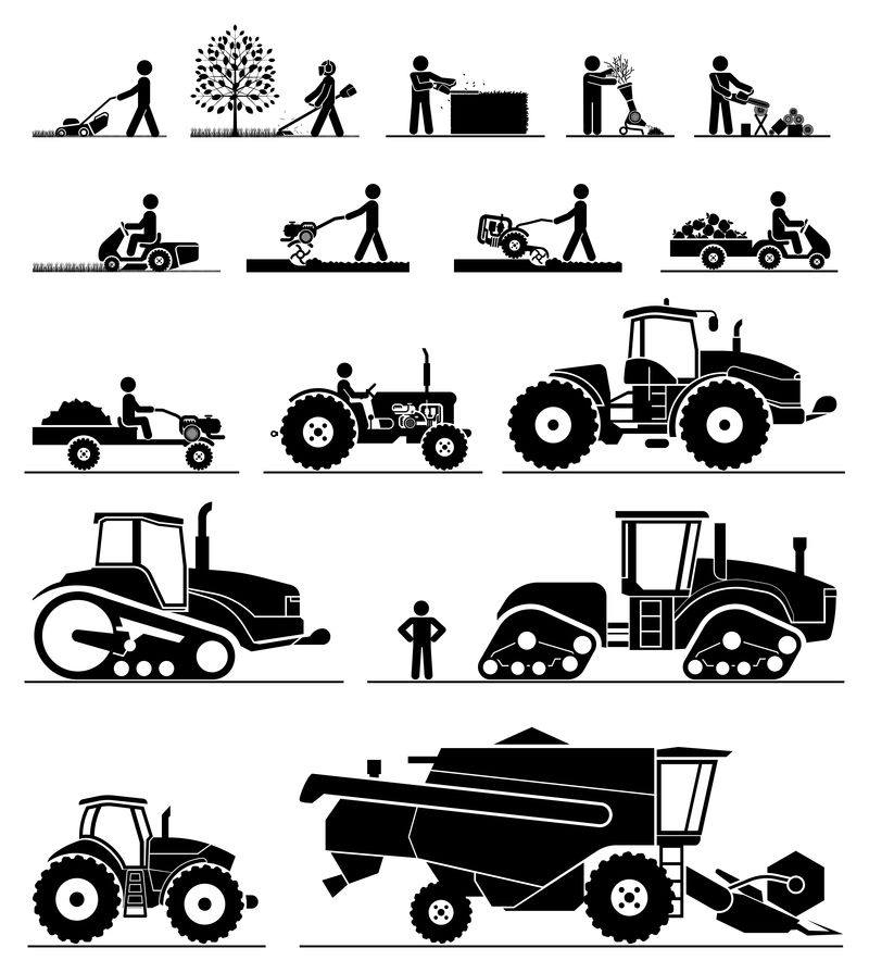 农业机械化图标。