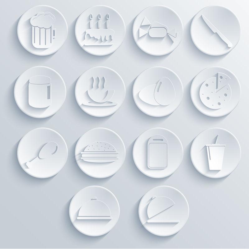 矢量食物图标设置在蓝色背景上。爱普生