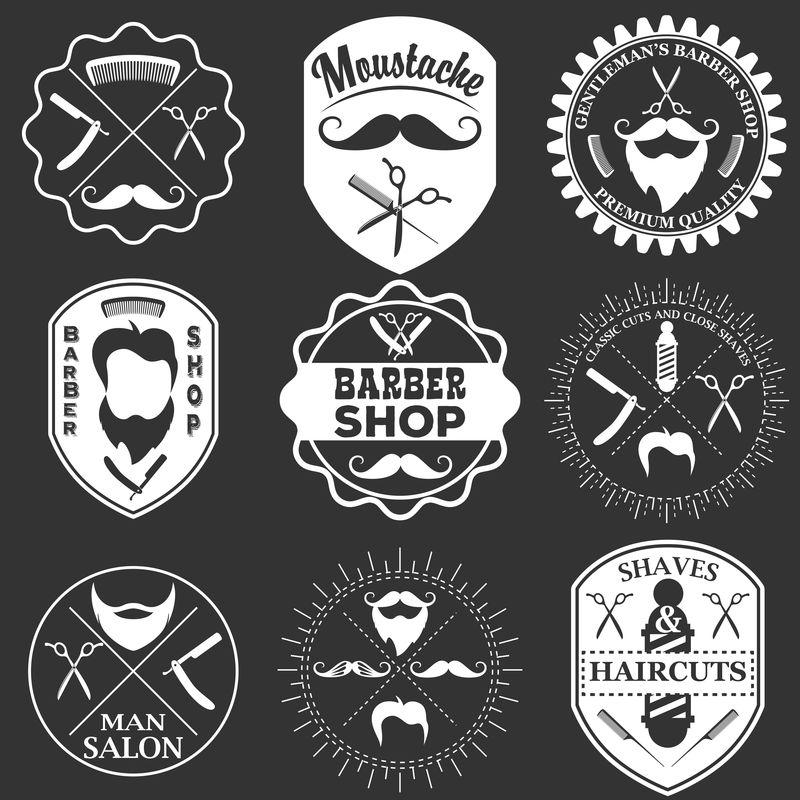 一套老式理发店标志模板,标签和徽章疯狂