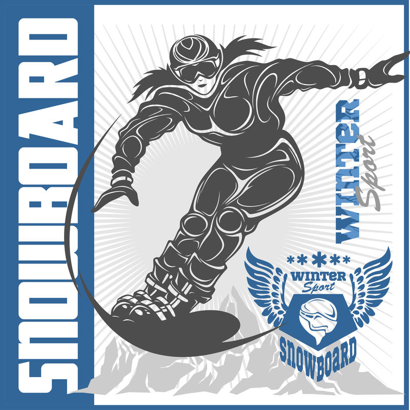 滑雪板标志、标签和设计元素。极端主题,冬季游戏,户外冒险。