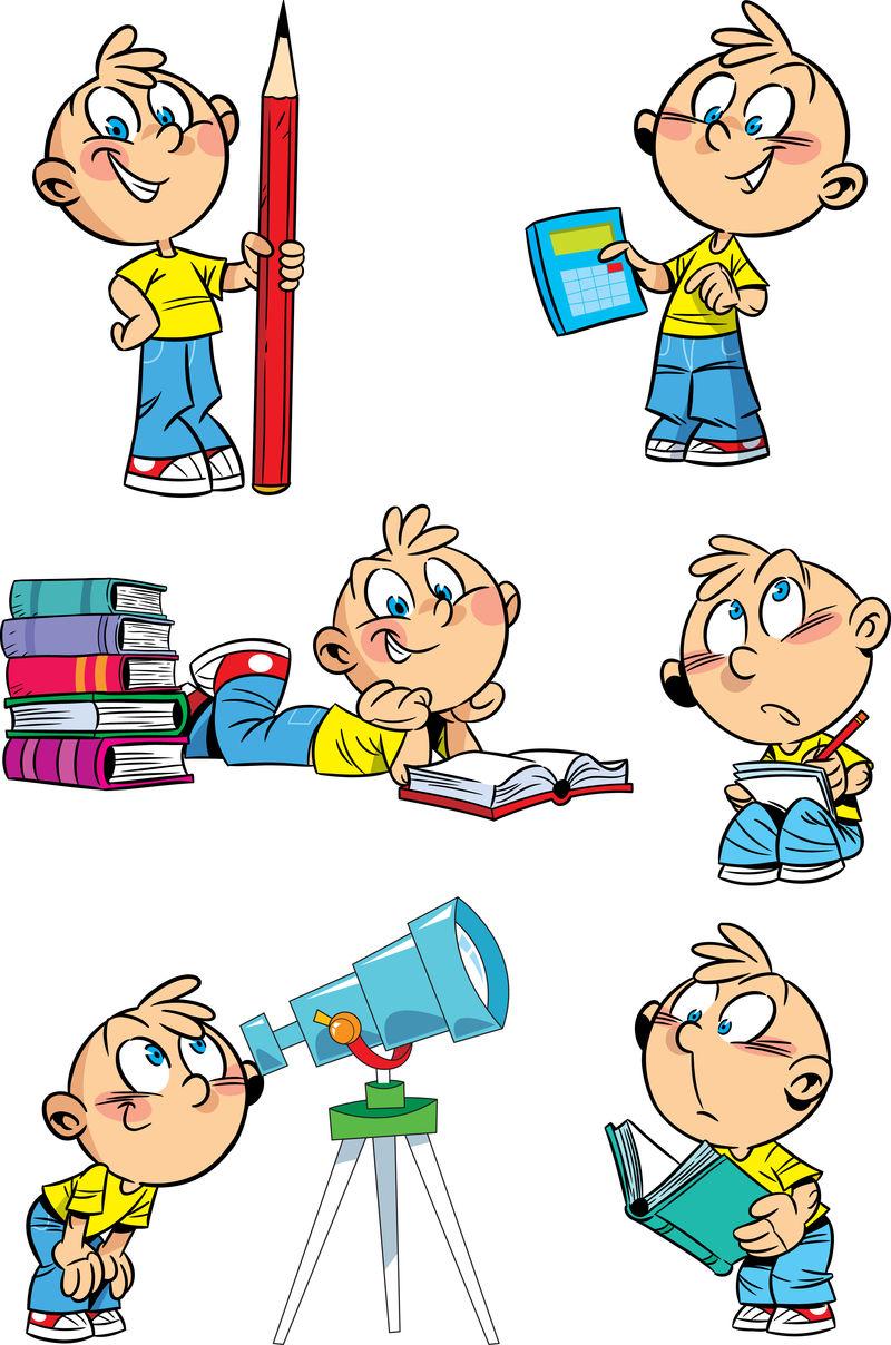 有学校科目的卡通男孩