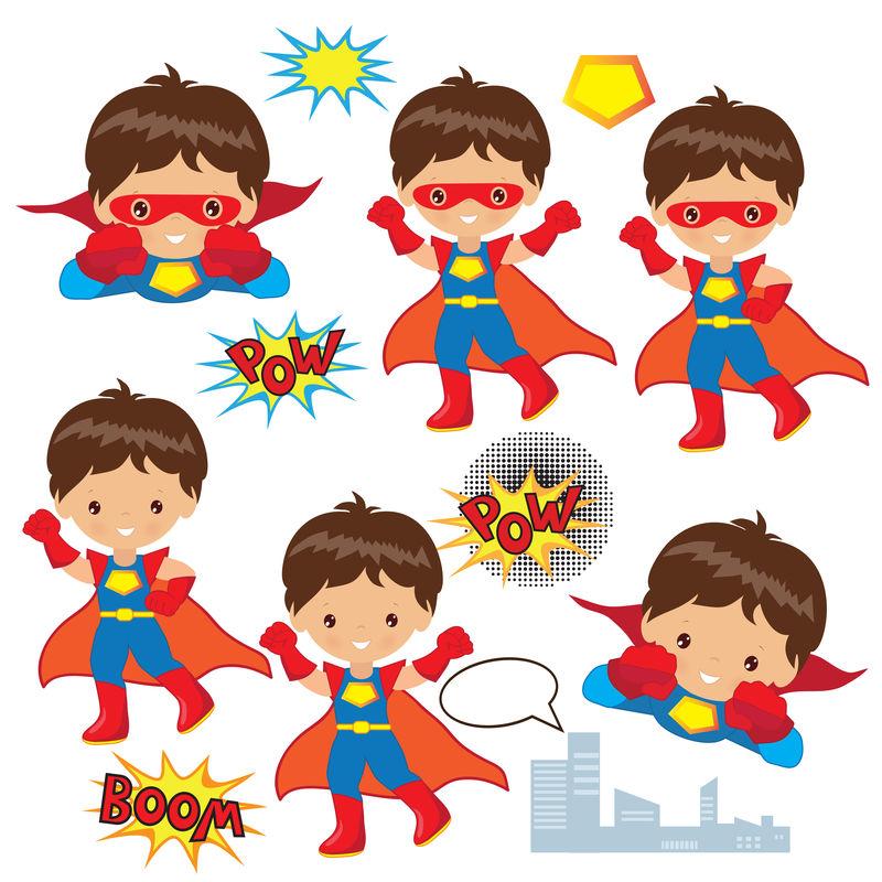 一组穿着不同姿势的超级英雄服装的孩子