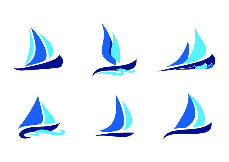 风浪中的蓝色帆船