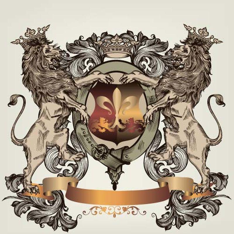 盾、马、狮纹章设计