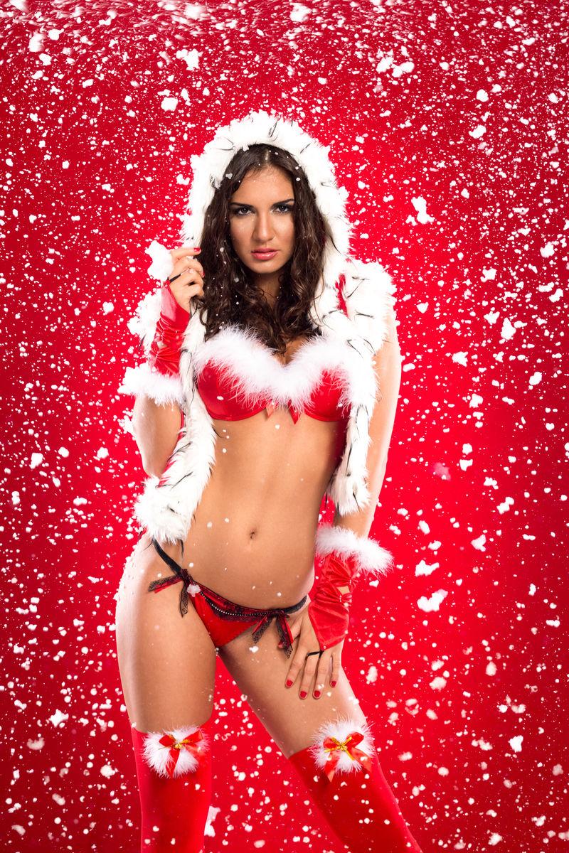美丽性感的圣诞助手