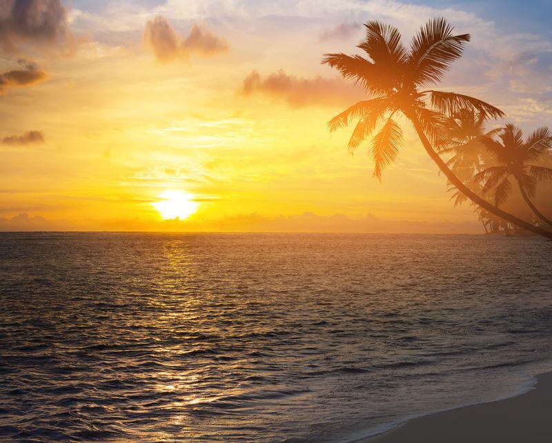 热带海滩上美丽的日出
