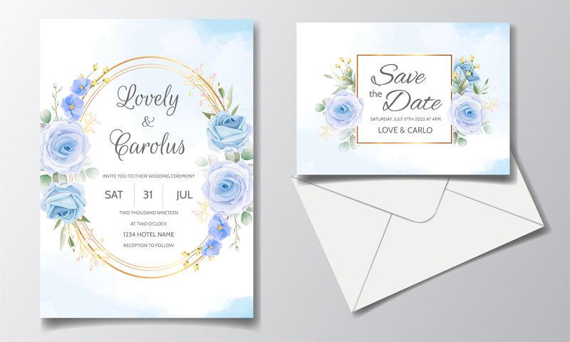 矢量婚礼花卉请帖设计