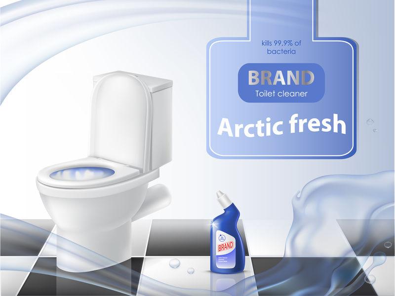 清洁剂、清洁概念矢量广告海报