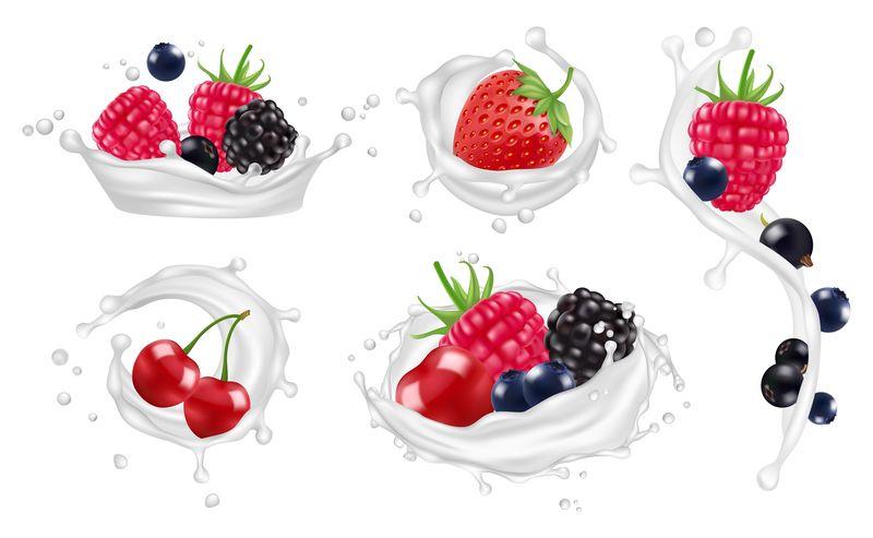浆果牛奶泼向量集。草莓,覆盆子,蓝莓水果和酸奶飞溅分离载体插图
