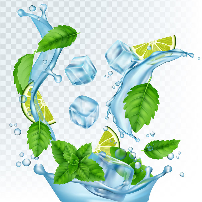 新鲜饮料矢量图。透明背景下的真实水、冰块、薄荷叶和石灰