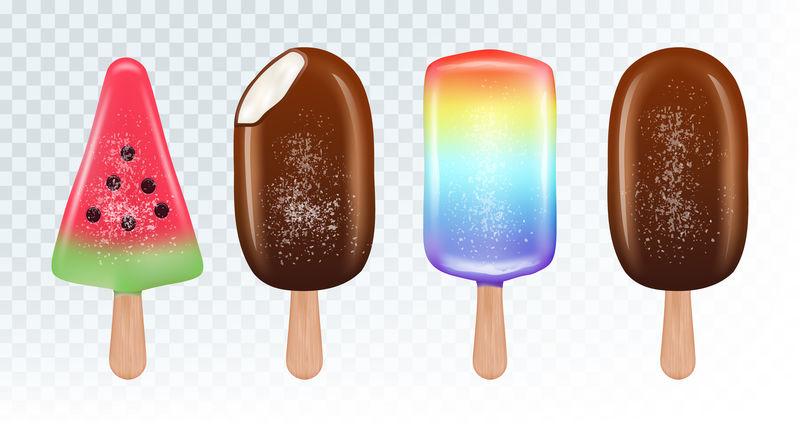 爱斯基摩冰淇淋矢量集。白色背景下的水果冰淇淋和巧克力冰淇淋