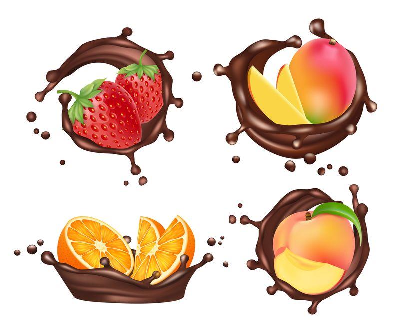 巧克力上点缀着水果和浆果。矢量逼真的橘子和桃子,芒果和草莓巧克力牛奶飞溅设置隔离