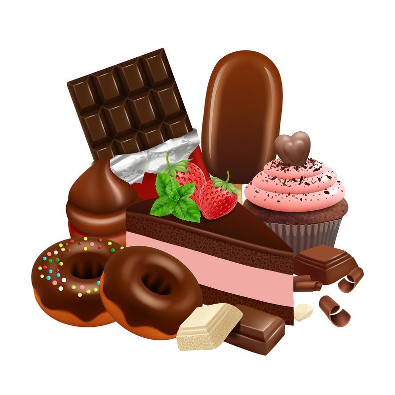 巧克力甜点系列。逼真的纸杯蛋糕,蛋糕,上釉甜甜圈,巧克力棒矢量图