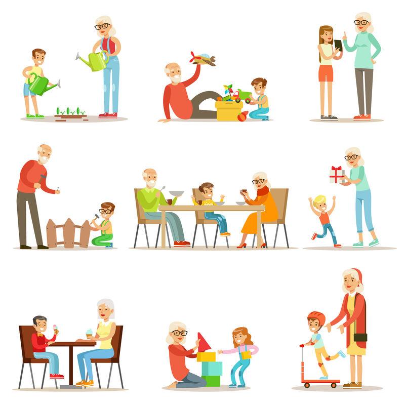 祖父和祖母花时间和孙子、小男孩和小女孩一起玩他们的祖父母矢量收集