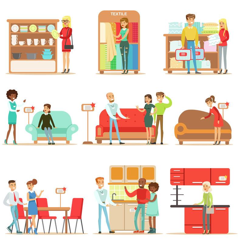 在家具店微笑的购物者,在专业的百货商店卖家的帮助下购买家居装饰物品