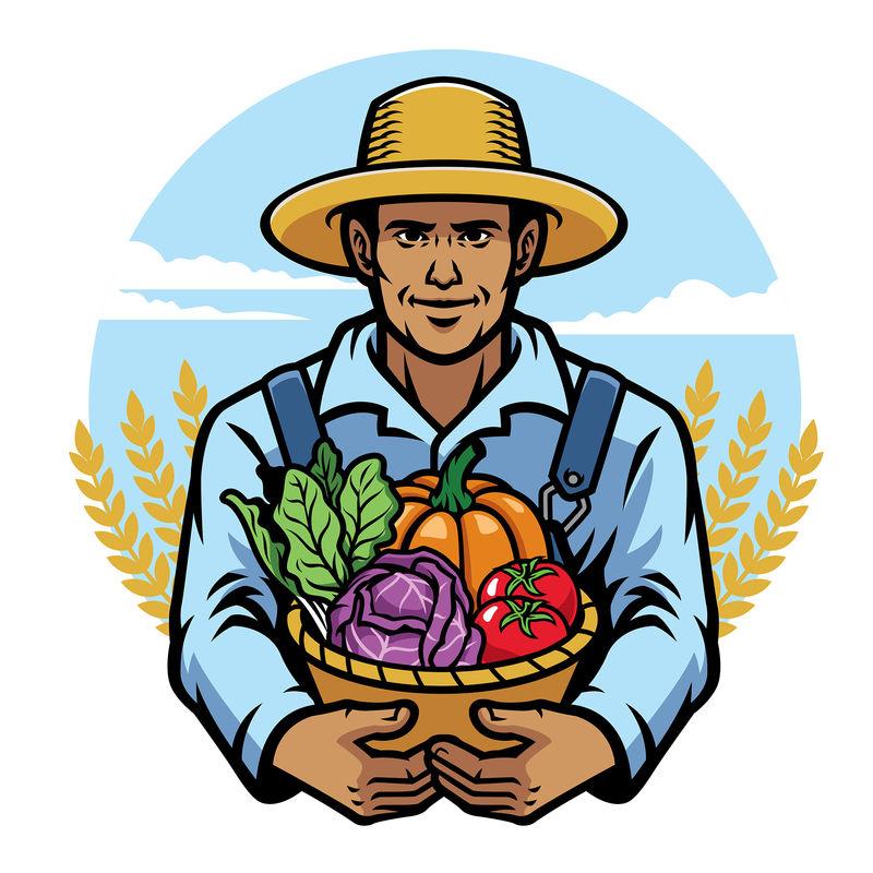 农民提着装满蔬菜的篮子