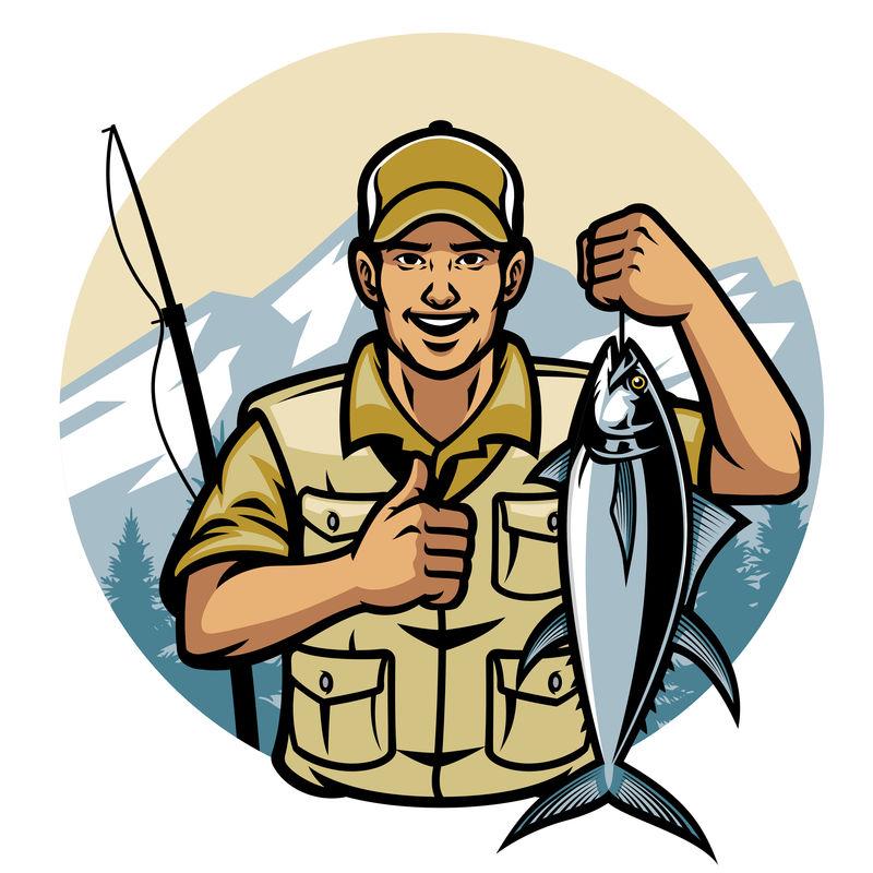 抱着金枪鱼微笑的渔夫