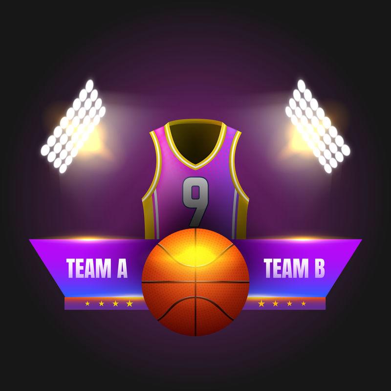 篮球记分牌,带体育场灯和球衣