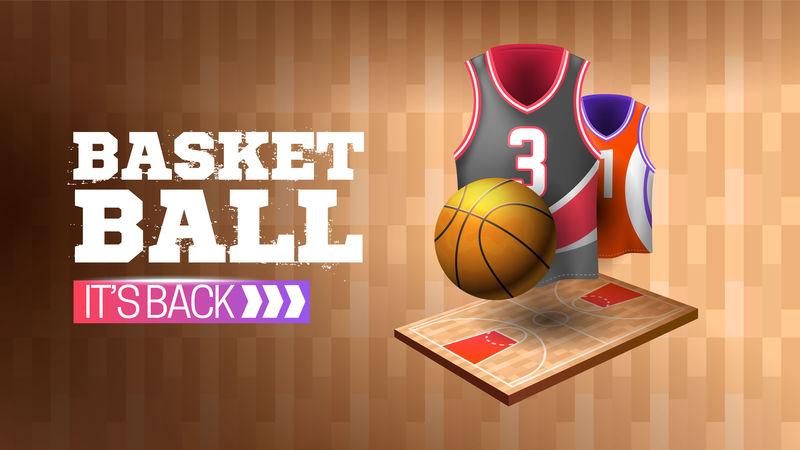 木纹横幅篮球