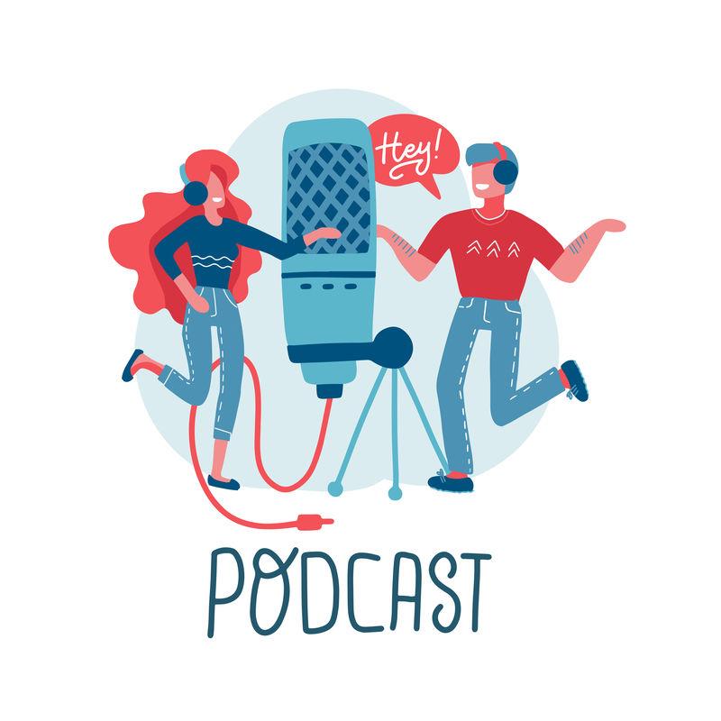 在线培训,播客,广播。播客概念。人们一起制作播客。带大麦克的卡通人物。带有字母的平面矢量独立插图。