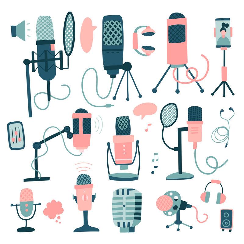 麦克风和录音机大套。手绘图标麦克风电子和录音设备,设备录音机,音频技术。白色隔离平面矢量图
