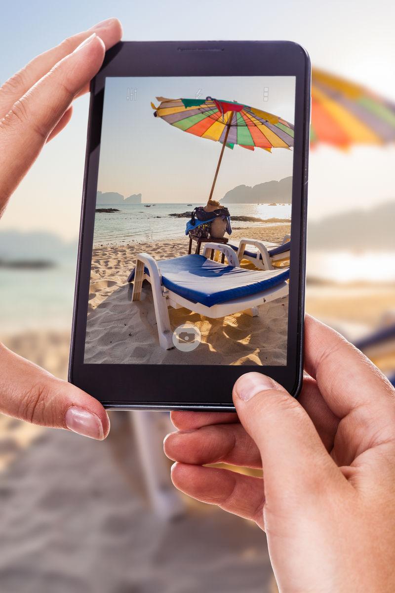 拍摄海滩休息室