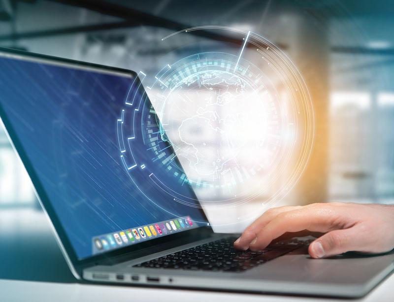 国际全球通讯显示在一个未来的界面-商业和技术连接