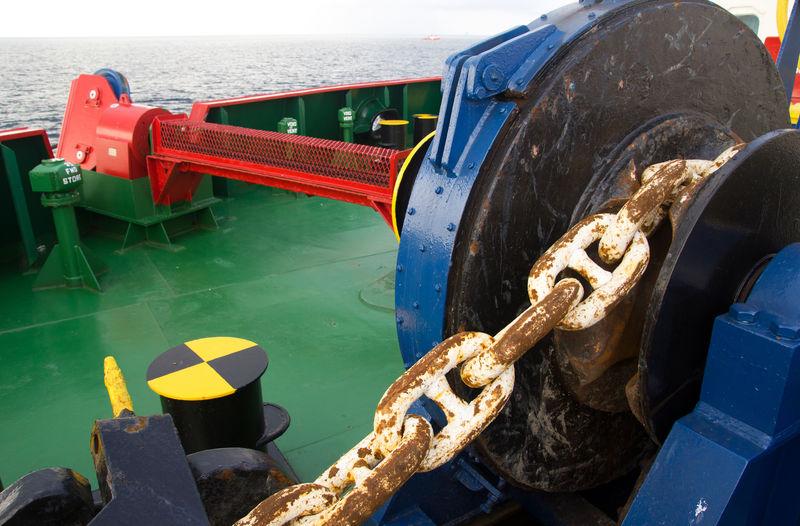 起锚绞车。细节,船。