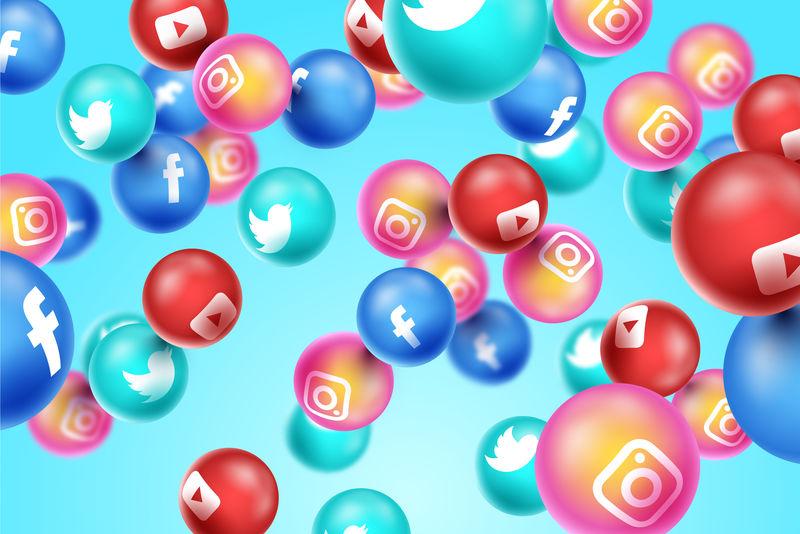 社交媒体3d矢量背景