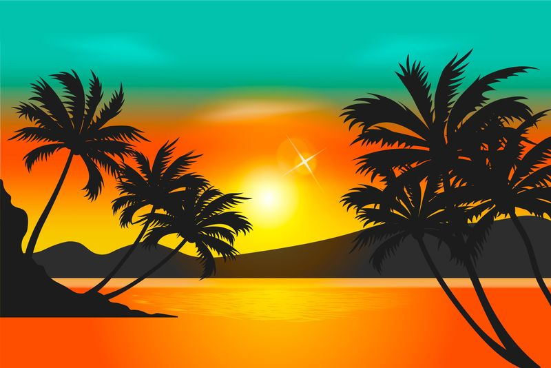 矢量日落时分的夏日海滩