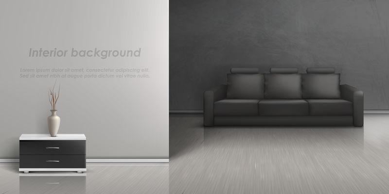 带沙发客厅的矢量室内模型