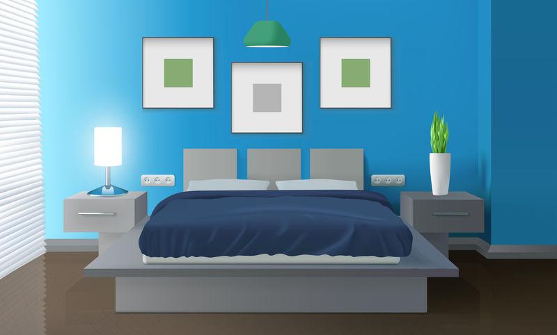 现代卧室蓝色内饰