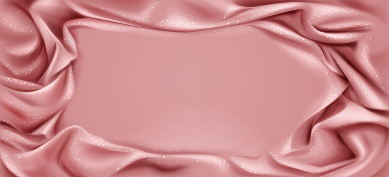 粉色丝质褶皱面料背景,闪闪发光