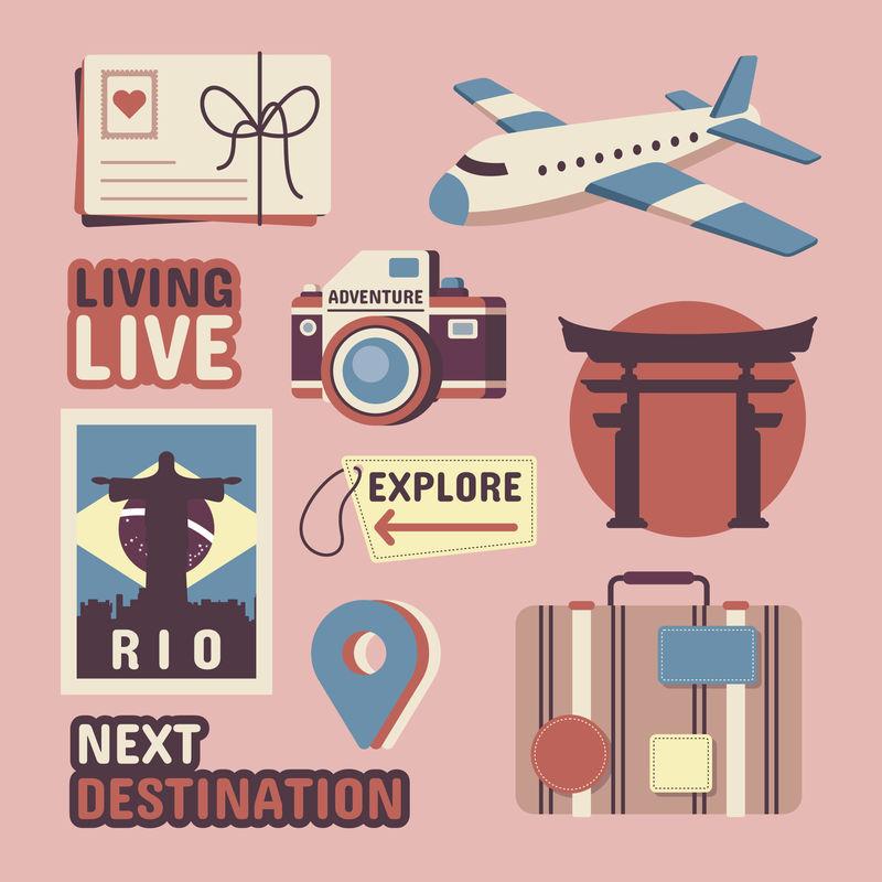 旅行贴纸矢量