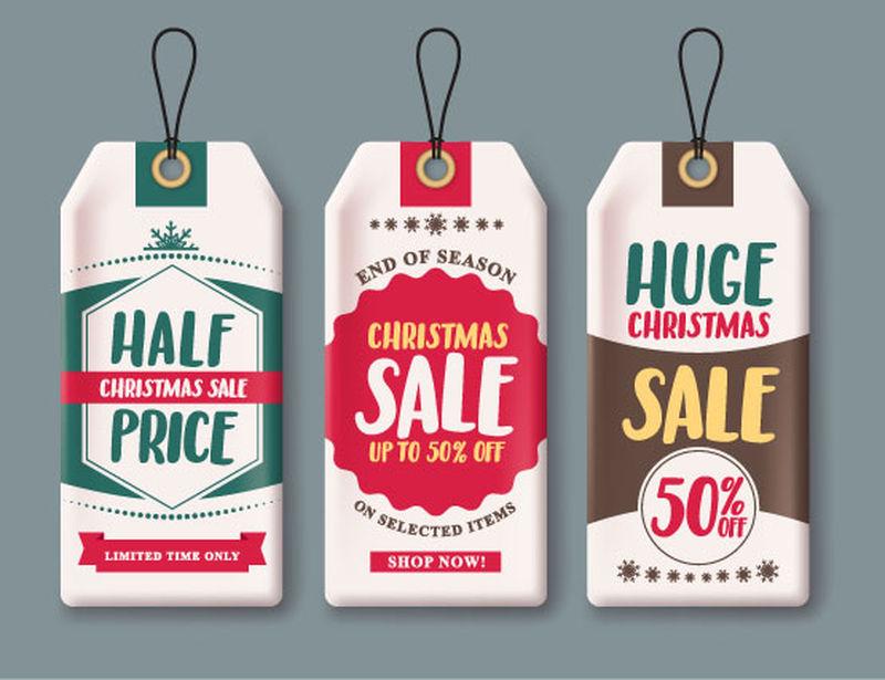矢量圣诞销售标签