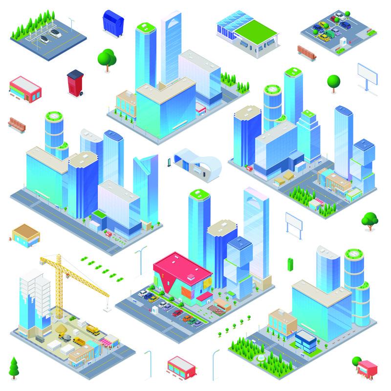 矢量等距城市建筑