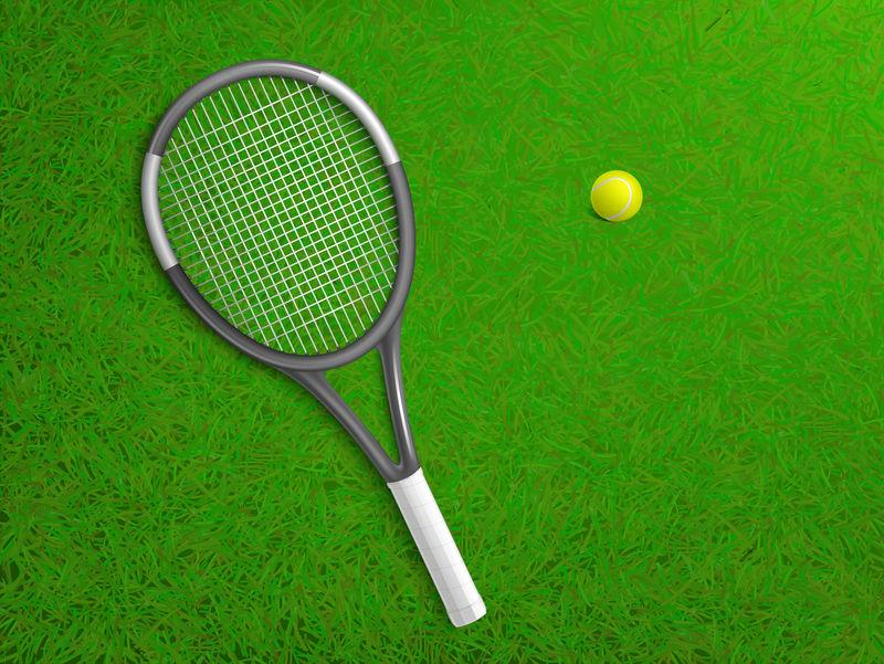 网球拍,草地上的球现实矢量