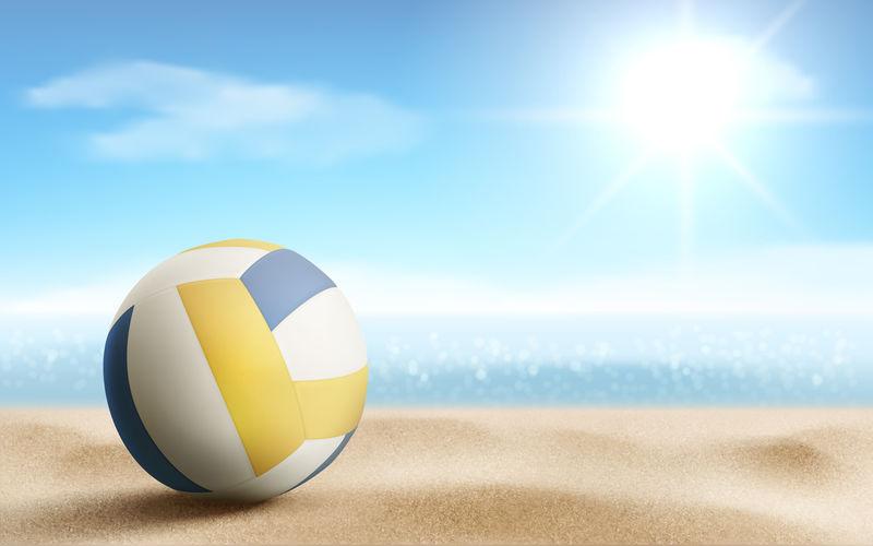 沙滩排球背景,向量