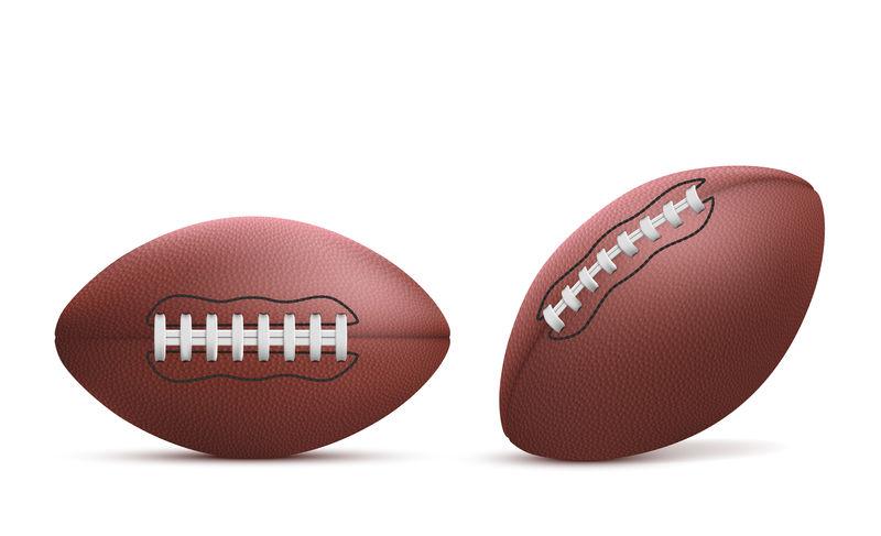 橄榄球球被隔离在白色背景上。
