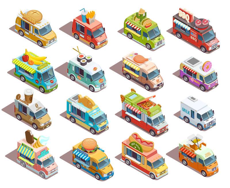 等轴测街头食品收集车图标