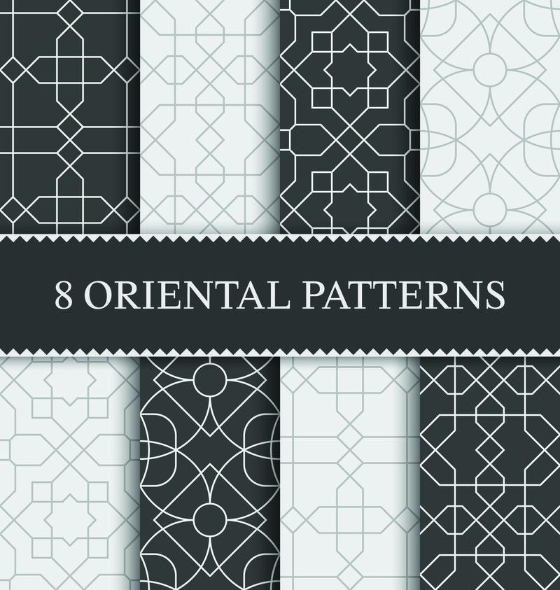 一套传统阿拉伯无缝图案,矢量插图
