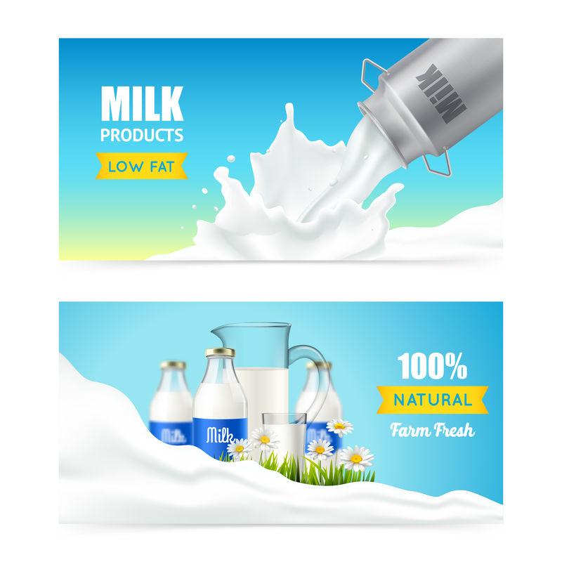 低脂肪牛奶横幅