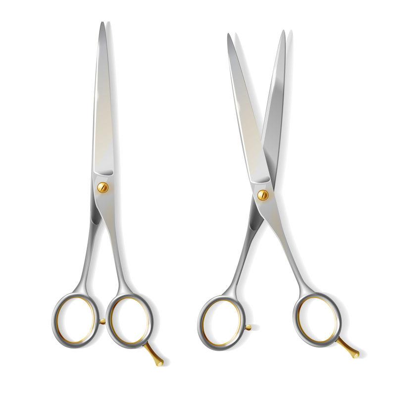 矢量三维逼真的理发师剪刀,理发店