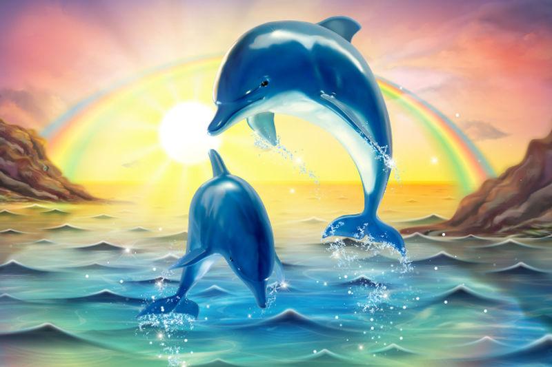 矢量海洋中的海豚