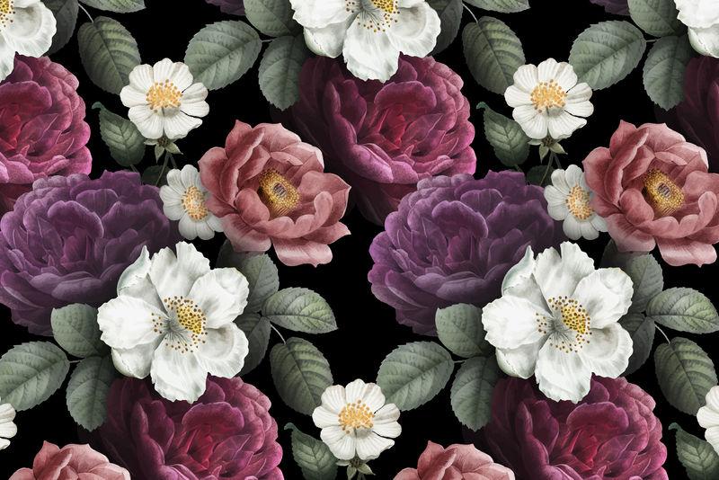 美丽的手绘无缝玫瑰背景向量