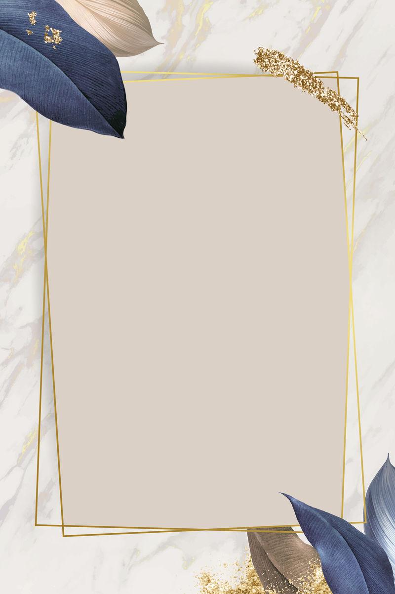 白色大理石背景向量上的矩形叶状框架