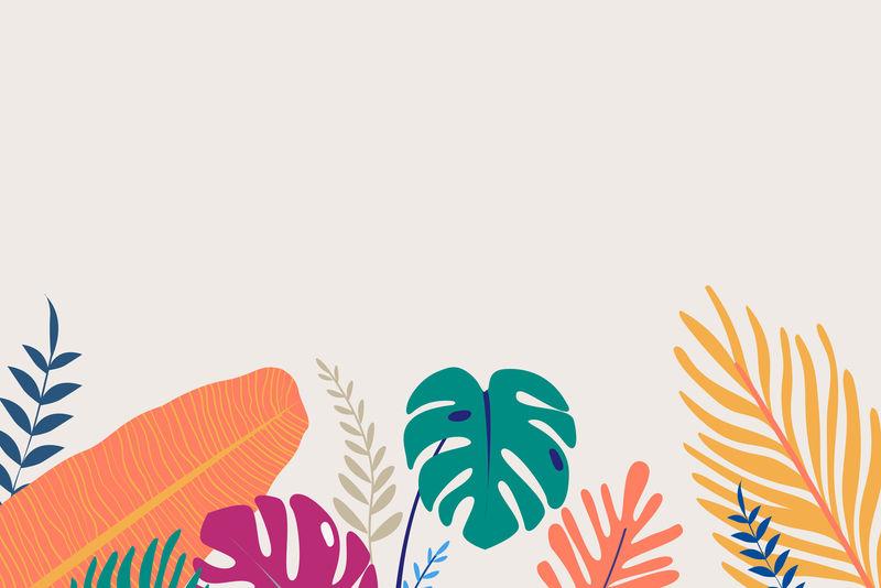 热带海报模板米黄色背景向量